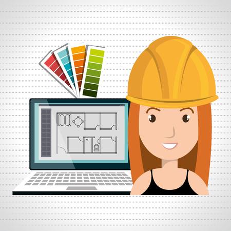 woman architect laptop tool vector illustration icon