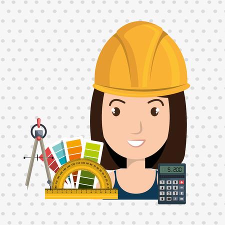 architect woman tools icons vector illustration icon
