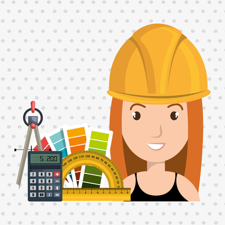 architect woman tools icons vector illustration icon