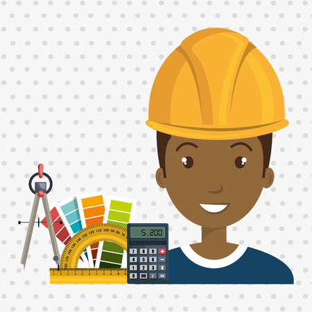 architect tool man work vector illustration icon Illustration