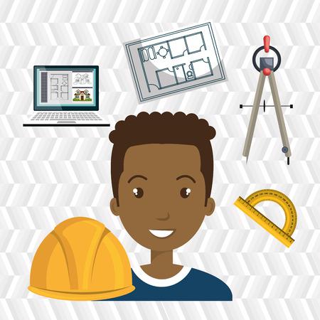 architect tools: architect laptop tools job vector illustration icon