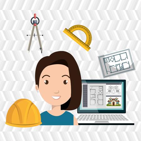 woman architect plane tool vector illustration icon