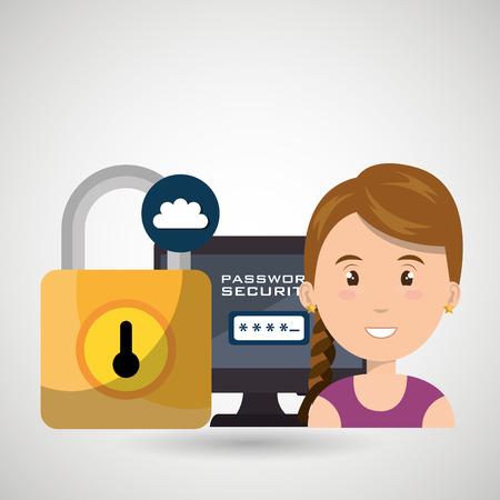 cyber woman: woman pc password app vector illustration design Illustration