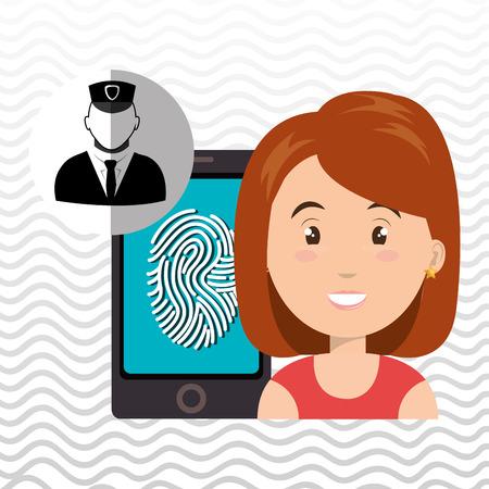 redhair: woman smartphone password vector illustration design eps 10