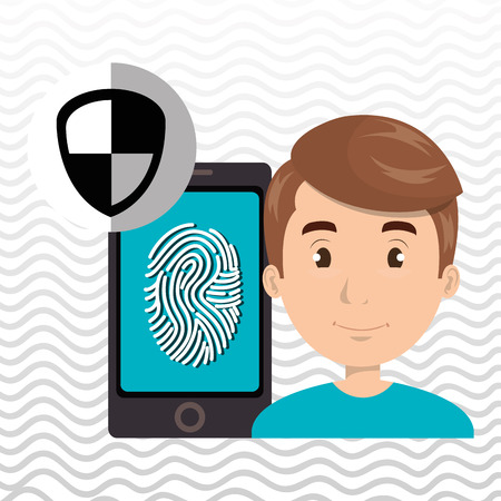 fingerprint card: man smartphone password vector illustration design eps 10