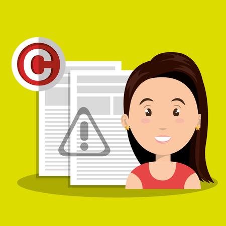 woman documents confidential vector illustration design eps 10