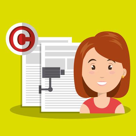 redhair: woman documents confidential vector illustration design eps 10