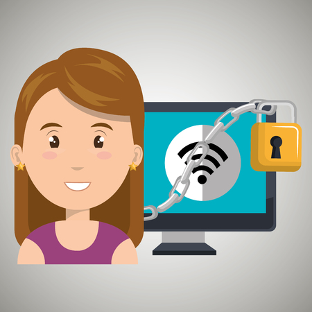 cyber woman: woman computer padlock vector illustration design eps 10 Illustration