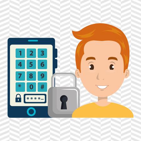 man smartphone password vector illustration design eps 10