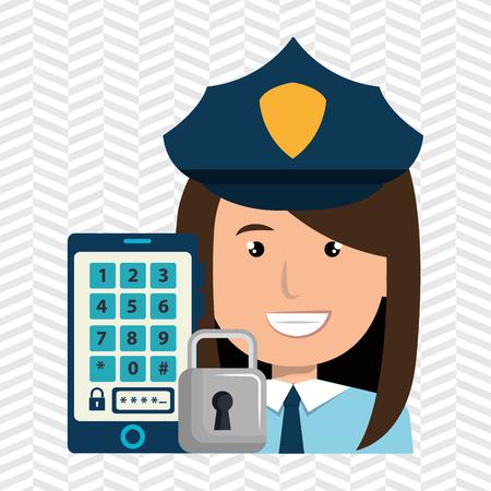 woman smartphone password vector illustration design eps 10