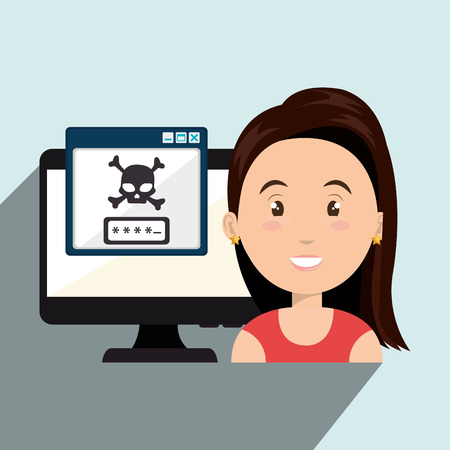 identity theft: woman pc virus design vector illustration eps 10 Illustration