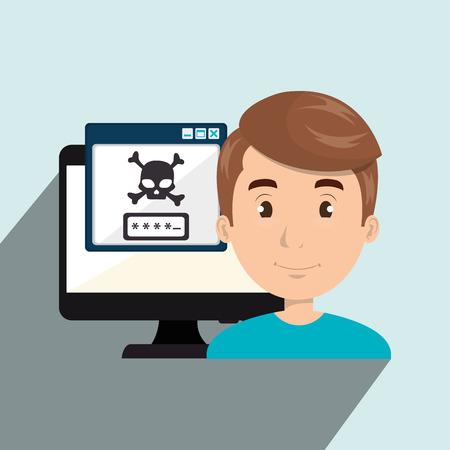 office theft: man pc virus design vector illustration eps 10
