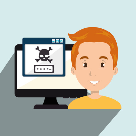 identity theft: man pc virus design vector illustration eps 10