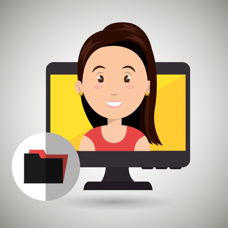 woman with laptop: woman laptop screen vector illustration design eps 10