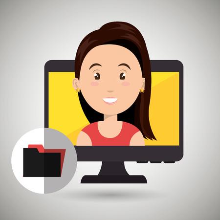 woman laptop: woman laptop screen vector illustration design eps 10