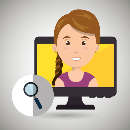 researches: woman laptop screen vector illustration design eps 10