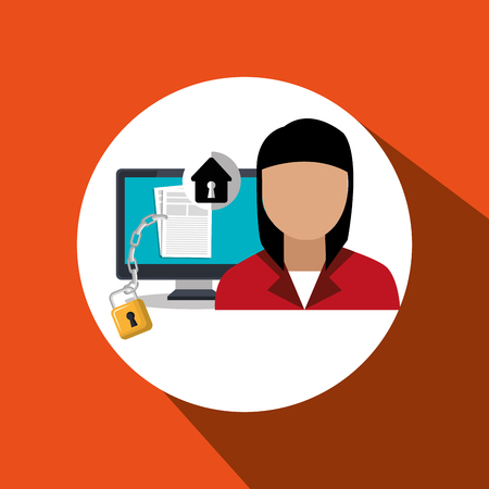 character laptop security vector illustration design eps 10