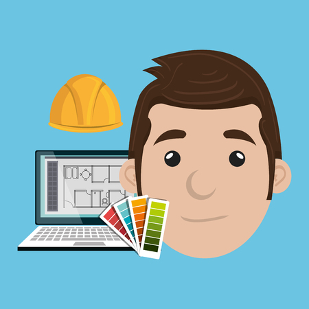laptop vector: man architect laptop vector illustration icon eps 10