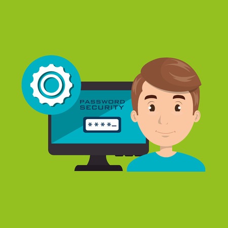 programer: man pc password vector illustration eps 10