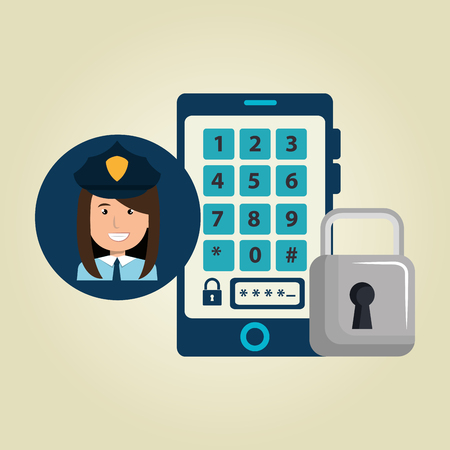 vigilant: woman smartphone password vector illustration design eps 10