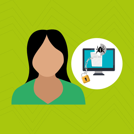 green issue: character laptop security vector illustration design eps 10