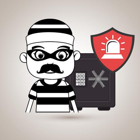 crowbar: criminal box safe security vector illustration eps 10