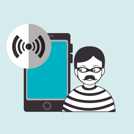 smartphone security protection hacker vector illustration eps 10