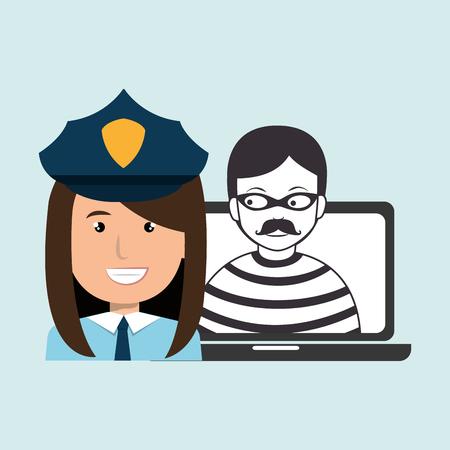 police criminal burglar design vector illustration eps 10 Ilustração Vetorial