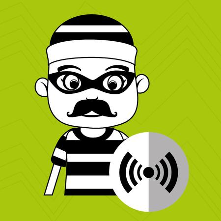 security alarm: hacker security alarm vector illustration eps 10