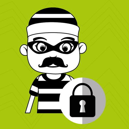 lockout: hacker security padlock vector illustration eps 10