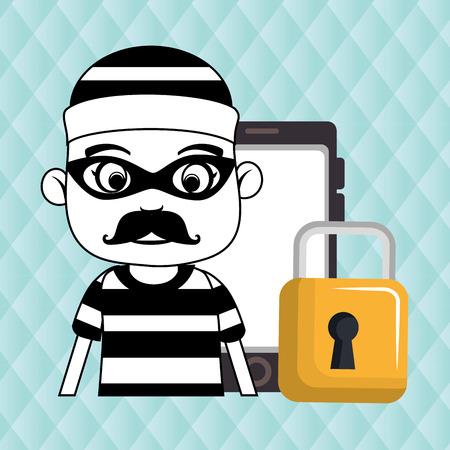 smartphone security information design vector illustration eps 10 Illustration