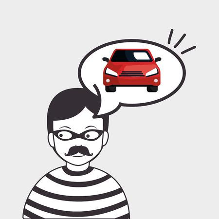 ilustración vectorial icono del coche penal ladrón eps 10