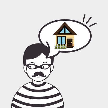 eps vector icon: burglar criminal house icon vector illustration eps 10
