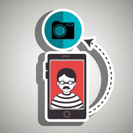 vulnerability: cellphone hacker app icons vector illustration eps 10