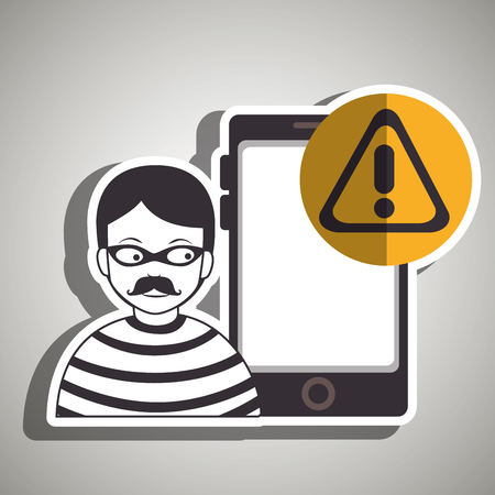 spyware: smartphone security protection hacker vector illustration eps 10