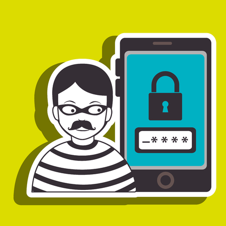 hacked: smartphone security protection hacker vector illustration eps 10