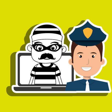 walk away: police criminal burglar design vector illustration eps 10