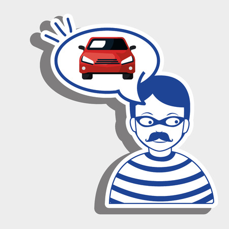 burglar: burglar criminal car icon vector illustration eps 10