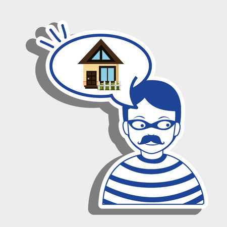 burglar: burglar criminal house icon vector illustration eps 10