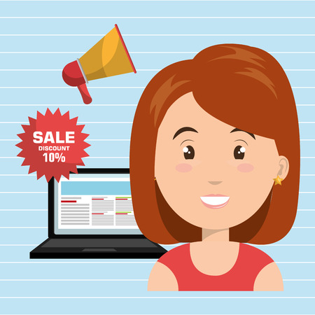 woman sale shop online vector illustration eps 10 Illustration