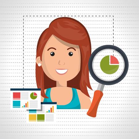 woman statistics graphic search vector illustration eps 10 Illustration