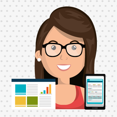 woman smartphone: woman smartphone graphics vector