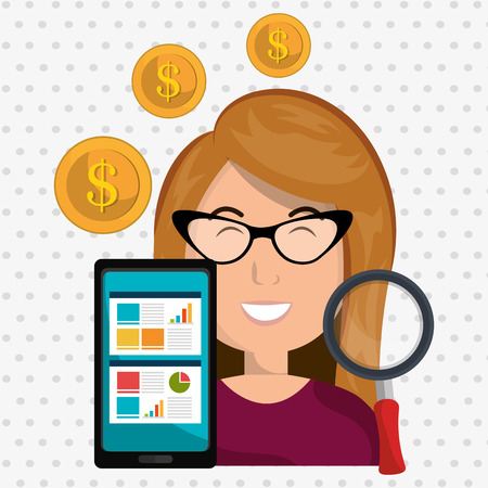 woman smartphone: woman smartphone coins icon vector