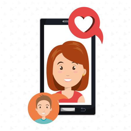phone call: smartphone woman speak friend vector illustration graphic