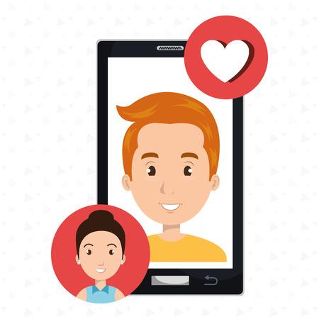 smartphone man speak friend vector illustration graphic