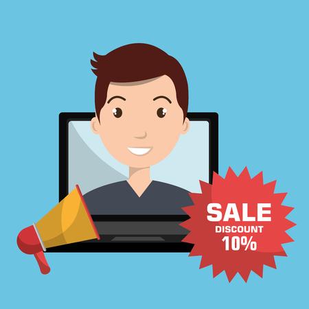 man sale shop online vector illustration