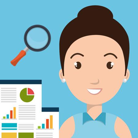 woman statistics graphic search vector illustration
