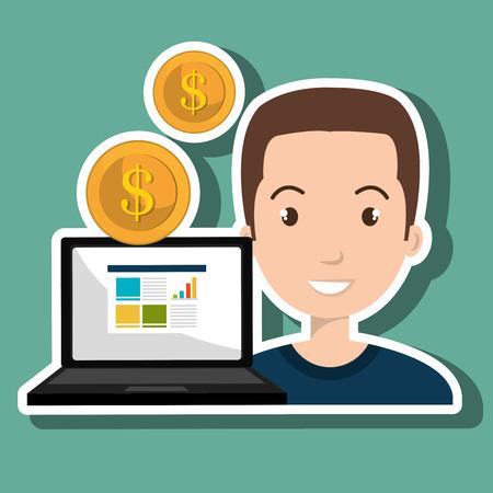 man with laptop: man laptop money coin vector illustration Illustration