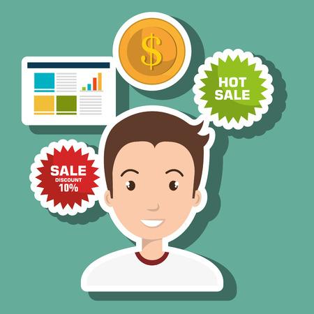 man credit card sale vector illustration Illustration