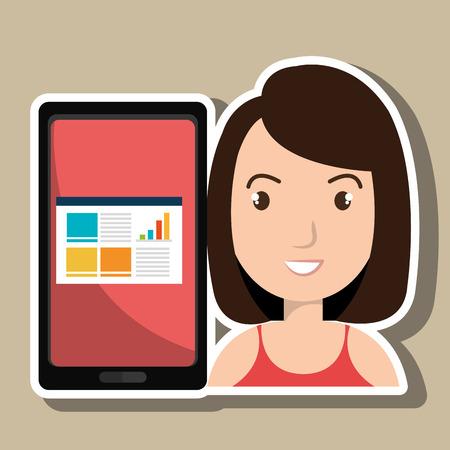 woman tablet: woman tablet statistics vector Illustration